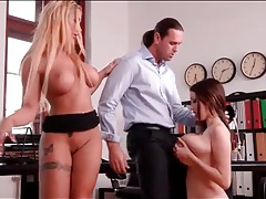 Fucking and sucking tits of sluts in his office tubes