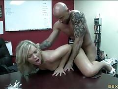 Bend that slut over the desk and fuck her hard tubes