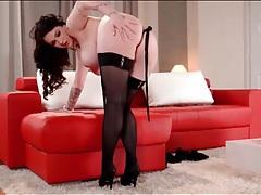 Inked babe makes black stockings look amazing tubes