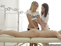 Young sex parties - sensual massage and three-way tubes
