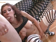 Big tits chick in lip gloss pounded in the butt tubes