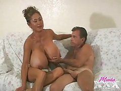 Old guy gets to suck the tits of minka tubes