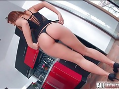 Booty shaking redhead in a slutty dress and thong tubes
