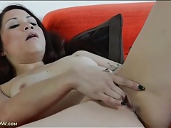 Mommy with lovely little tits fingers her snatch tubes