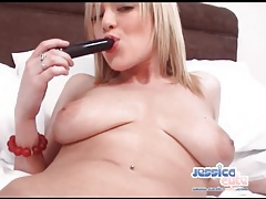 Get close with her cunt as she fucks a toy tubes