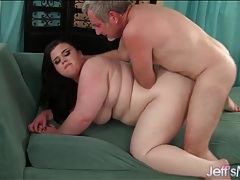 Pounding this slutty plumper makes him cum hard tubes