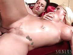 Fucking a blonde and cumming all over her pussy tubes