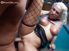 Fake tits whore fucked on a pool table tubes