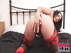 Red lace on a babe teasing her perfect pussy tubes