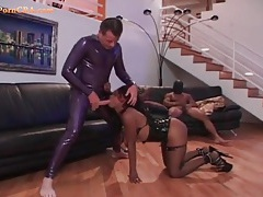 Latex fetish threesome with a black cock whore tubes