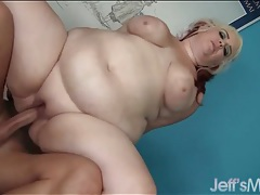 Fat whore milks his boner with her cunt tubes
