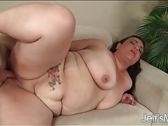 Bbw belly bounces as he pounds her shaved hole tubes
