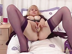 Old babe is super hot in purple lingerie tubes