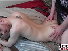 Two tattooed hotties have missionary anal sex tubes
