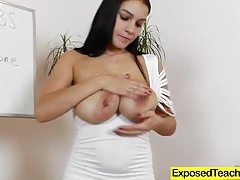 Eager housewife teacher exposed tubes