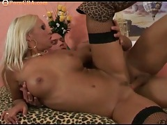 Leopard print boots on a bangable blonde chick tubes