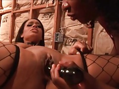 Lesbian on a leash licked by her mistress tubes