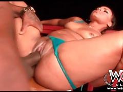 Interracial sex on the deck with a bikini babe tubes