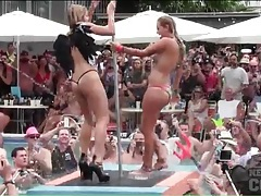 Pool party sluts dance on the pole for the audience tubes