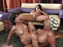 Ass licking lesbian trio with talented tongues working tubes