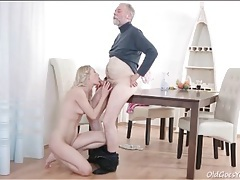 Beautiful blonde licked and fucked by an old guy tubes