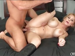 He pumps his hot cum on her big fake tits tubes