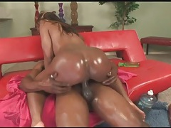 Lots of lube makes her fat black ass look sexy tubes