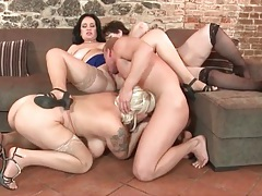 Three fat girls in stockings and a hunky guy play tubes