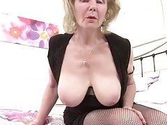 Bawdy grandma in fishnets has sexy big tits tubes