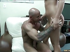 Slippery pussy girl sits on a big dick in the office tubes