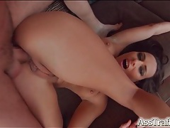 Flexible brunette loves hot gaping anal sex tubes