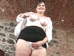 Naughty grandma rubs her saggy tits and wet pussy tubes