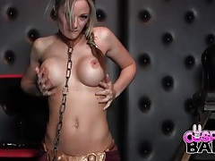 Princess leia costume on a babe banging with a toy tubes