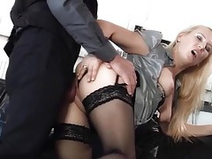 Soft satin blouse and stockings on a fucked blonde tubes