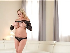 Black lace clings to the body of a blonde goddess tubes
