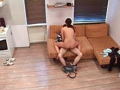 Hidden cam catches his girlfriend riding dick tubes