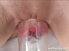 Self fisting fun with a fantastic brunette chick tubes