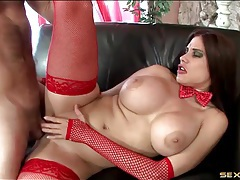 Red fishnets are amazing on the milf slut he fucks tubes