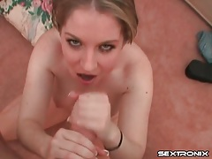 Cock stroking girl plays with her hot cum reward tubes