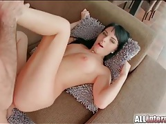 Stiff shaft slams the ass of a black haired slut tubes