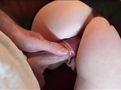 Stuffing the cunt of a ripped pantyhose hottie tubes