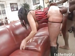 Office fuck with a black chick in a corset tubes
