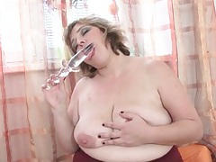 Long glass dildo for her perfect bbw pussy tubes