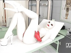 Latex fetish model masturbates her soaked pussy tubes