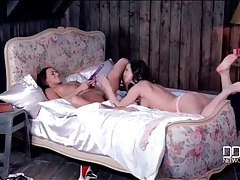 Feet and toys excite a pair of gorgeous lesbians tubes