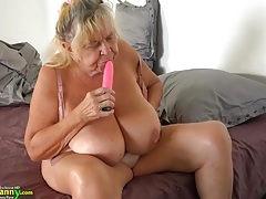 Young girl with strapon fucks fat old granny tubes