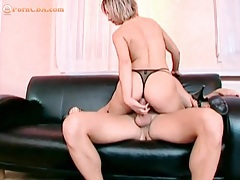 Fishnets and heels beauty sits on his boner tubes