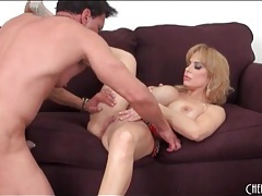 Baby oil makes her huge tits fun to fuck tubes