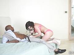 Jennifer white sucks black cock in pink lingerie tubes