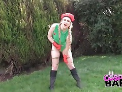 Street fighter cosplay girl masturbates outdoors tubes